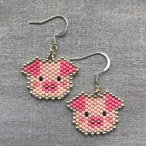 miyuki delica pink beaded pink pig face sterling silver earrings