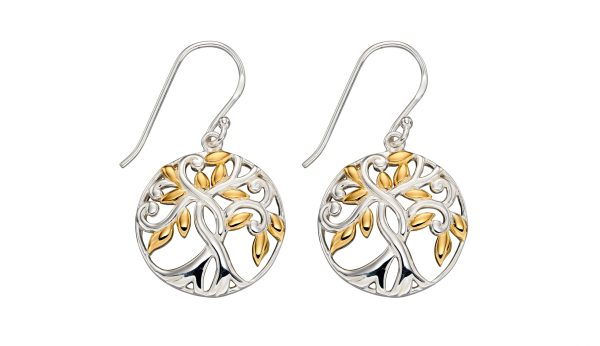 sterling silver and gold tree of life earrings