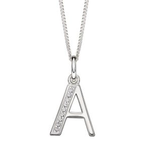 sterling silver Art Deco initial a cubic zirconia pendant