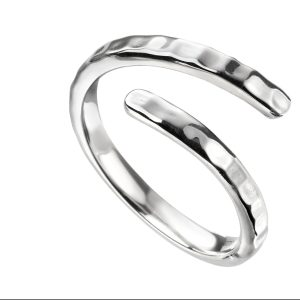 silver wrap over hammered style ring