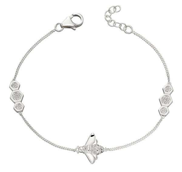 sterling silver pave cubic zirconia bee bracelet
