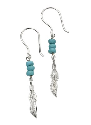 sterling silver blue magnesite feather earrings