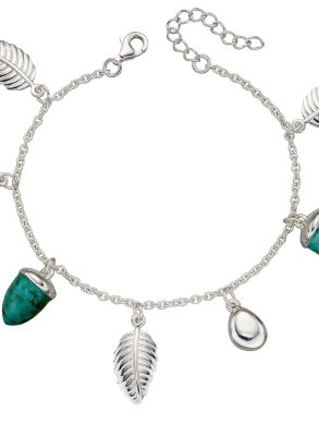 Elements Silver Leaf and Turquoise Acorn Charm Bracelet