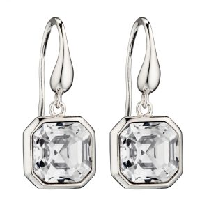 elements silver Swarovski crystal imperial cut drop earrings