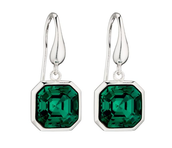 elements silver Swarovski emerald crystal imperial cut drop earrings