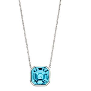 elements silver Swarovski crystal imperial cut aquamarine necklace