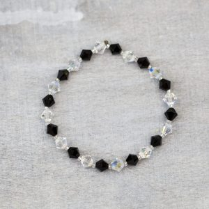crystal ab and jet swarovski 6mm bicone bracelet