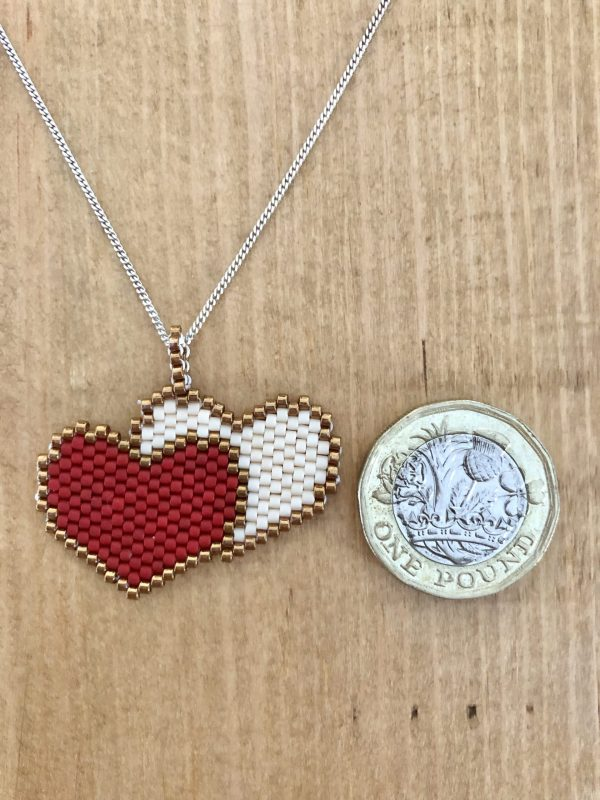 red and cream double beaded heart miyuki pendant 2