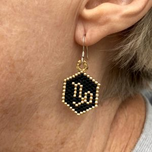 capricorn black and gold miyuki beaded zodiac star sign earrings