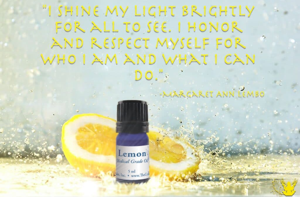 Lemon Essential Oil Affirmation. Lemon helps when you are recovering from the blues, as it aids in releasing the symptoms of depression.