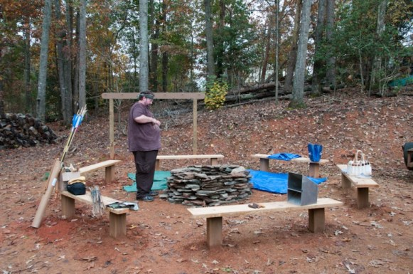 CTA Primitive Skills Weekend - Nov 2015-1_Bruce Parris builds the stone fire ring