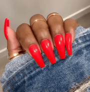 creative red acrylic nail design