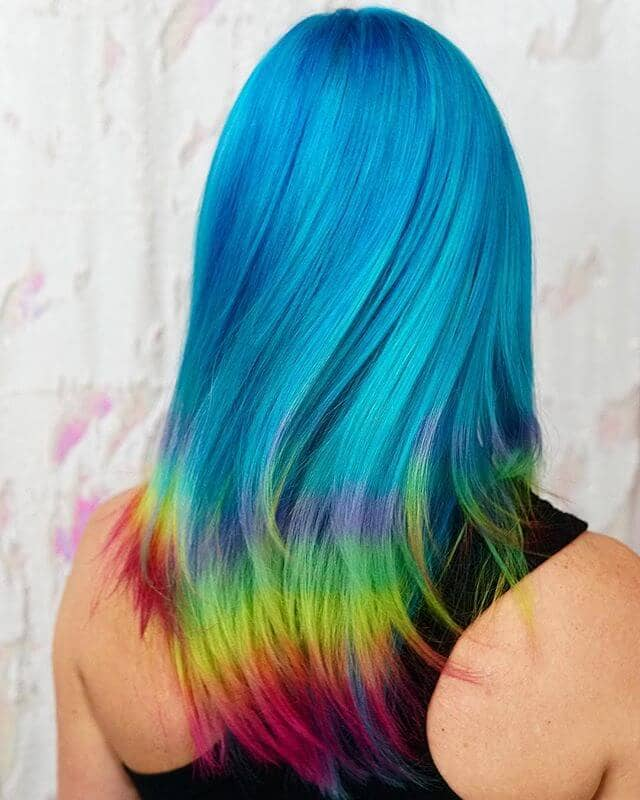 Feathery Layers of Blue with Rainbow Tips