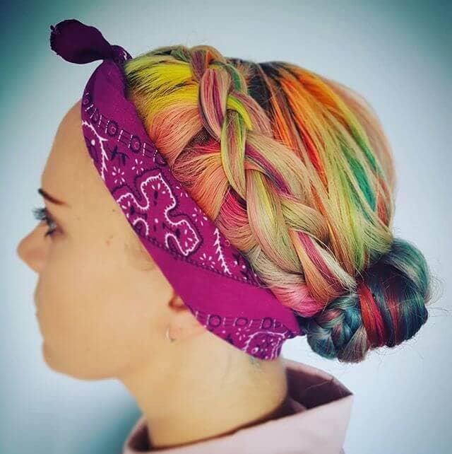 Sweetly Braided Bun with Neon Rainbow Highlights