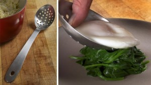 The slotted spoon allows excess water to escape for service.