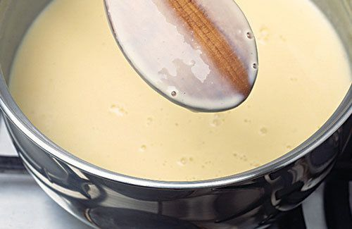 What a thickened creme anglaise should look like. Also called nappe