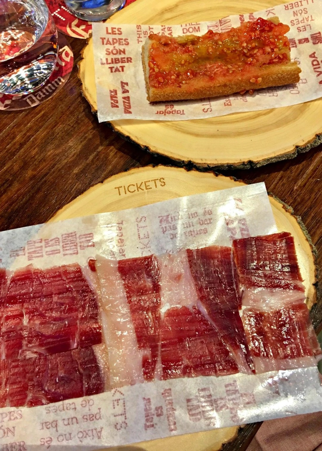 Jamon and Nuestro Pan Tomato at Tickets Barcelona