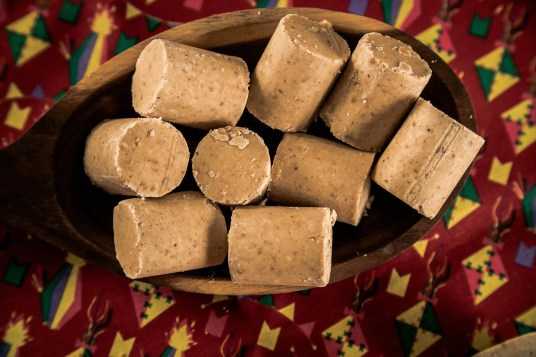 Pacoca - brazilian candy of ground peanut of festivity festa junina decoration.