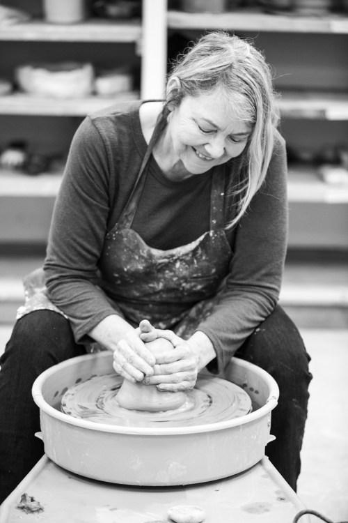 Diana Pavlac Glyer at the potter's wheel 1 - Image (c) Matt Tyler