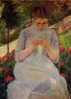 'Young Woman Sewing in a Garden', between 1880 and 1882