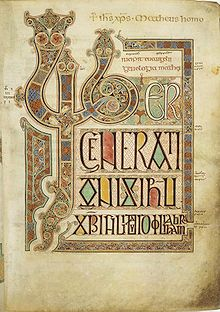 Opening page of the Gospel of Matthew from the Lindisfarne Gospels, around 700 C.E.