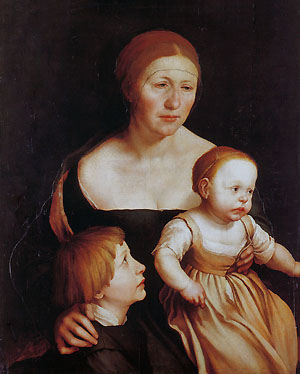 Hans Holbein the Younger, The Artist's Wife with Katherine and Philipp, c.1528.