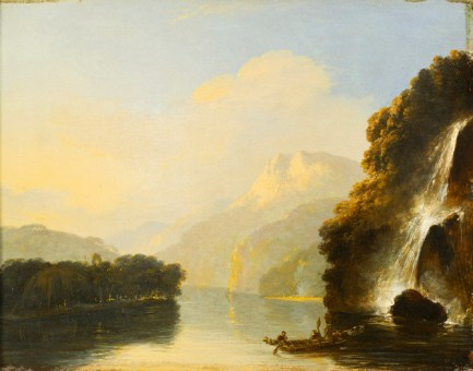 Waterfall in Dusky Bay with a Maori Canoe by William Hodges, 1775-7