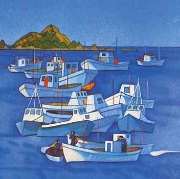 Rita Angus, Boats, Island Bay, 1968