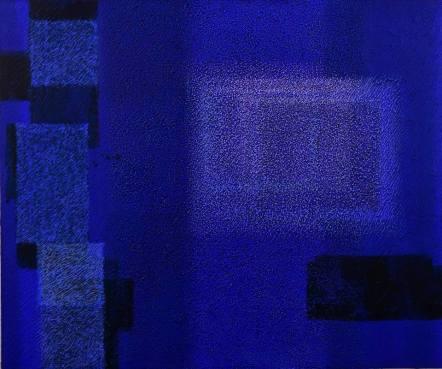 Title:IN BLUE May'18 (II) Size:61.0×73.0 Year:2018 Medium:Acrylic, Coffee powder on panel