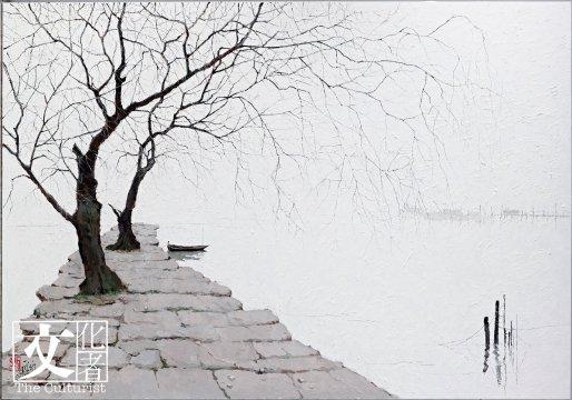 龐均的灰聞名中外,他以油畫灰調子寫灕江,用西方油彩描繪煙雨朦朧的山色。