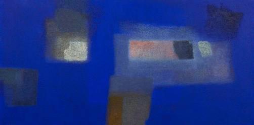 Title:IN BLUE Jan '12 Size:100.0 x 200.0 Year:2012 Medium:Acrylics, Coffee powder on board