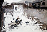 龐均既是畫家也是小提琴手,《古鎮的水道》也滲透着音樂感。