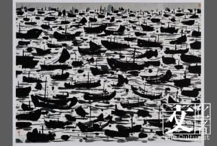 作品《漁港》,捐贈於2014