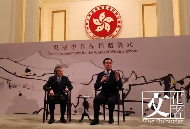 _(左)吳冠中長子吳可雨及(右)香港藝術館館長司徒元傑