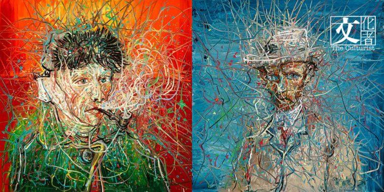 曾梵志是梵高的鐵粉,他專為梵高美術館創作了一組五幅新作去年10月起將在梵高美術館展出,此為其中兩張曾梵志筆下的《梵高》自畫像。