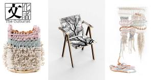 Zoe Siu的繩結裝置「Ode To Nature」,以「零浪費」的創作方式去感謝大自然,與劉小康的「椅子趣——圖騰椅」(中)系列相映成趣。