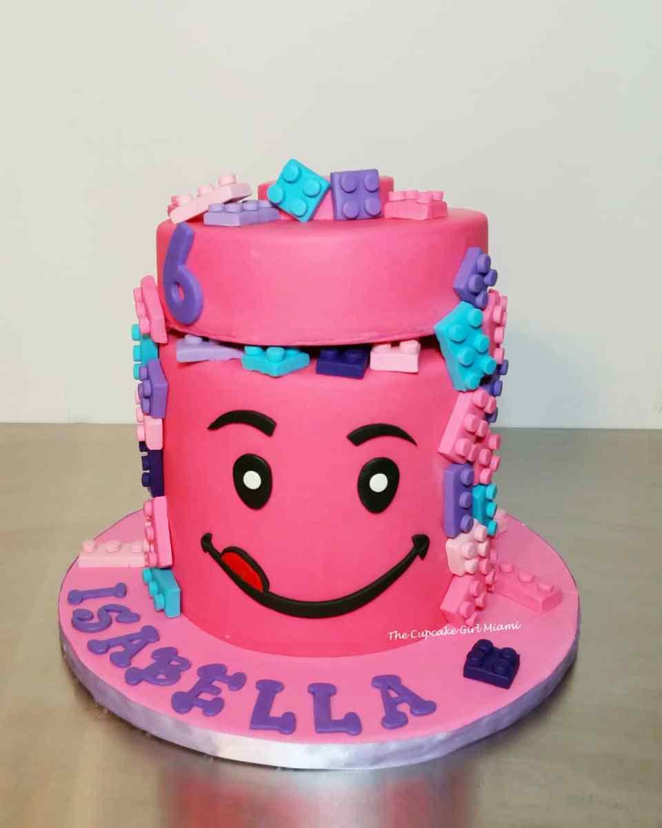 Lego cake, birthday cake, pink cake