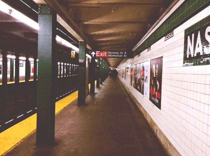a NYC underground subway platform