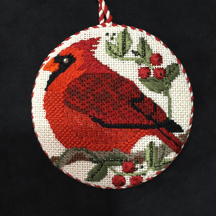 Christmas Tree Needlepoint Ornament of a Red Cardinal