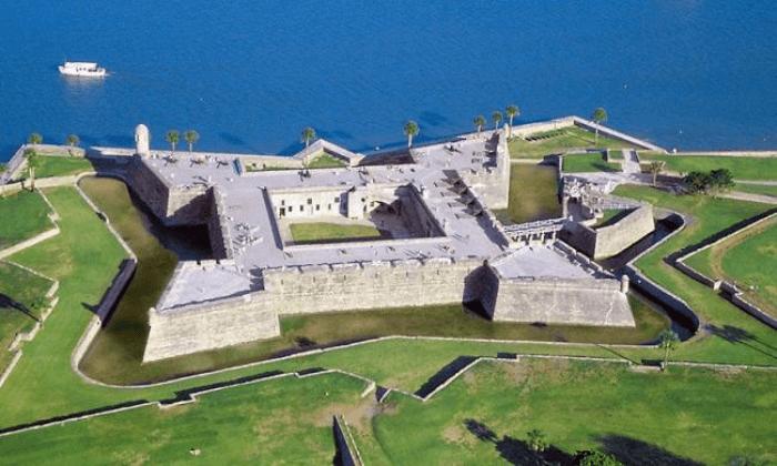 Aerial shot of Castillo San Marcos