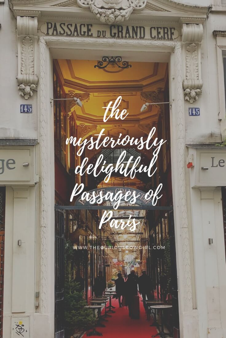 the entrance to a Paris Passage with text overlay