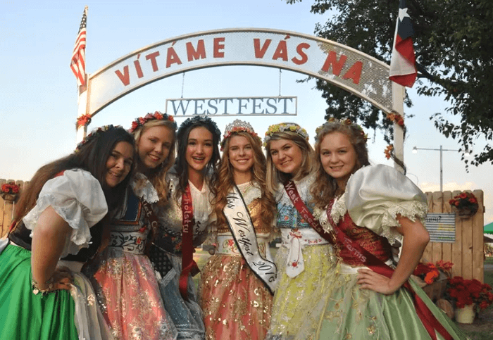 Group of young girls in Polka Dresses smiling