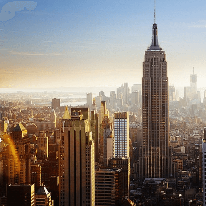 Ariel view of The Empire State Building in NYC