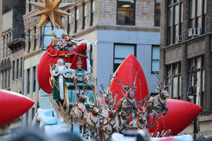 a reindeer float in a parade