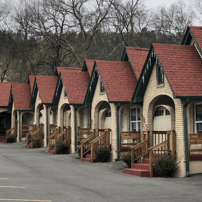 a row of rooms at a motel