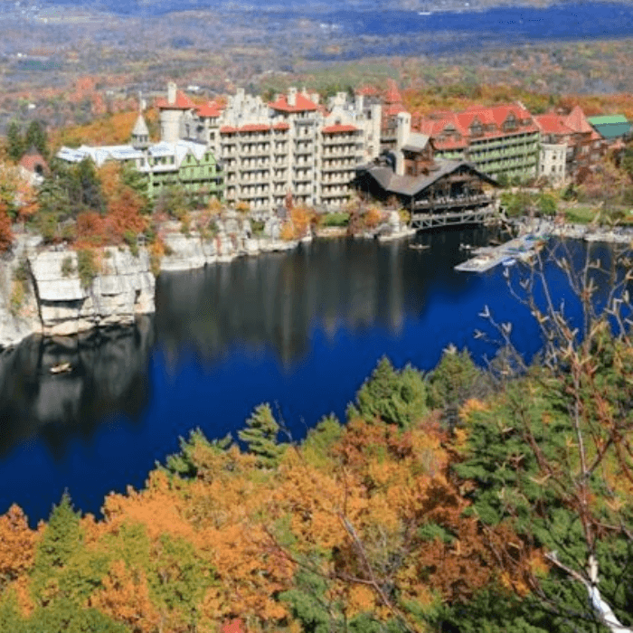 a hotel on the side of a cliff surrounded by trees