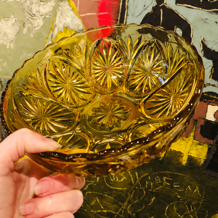 amber colored bowl