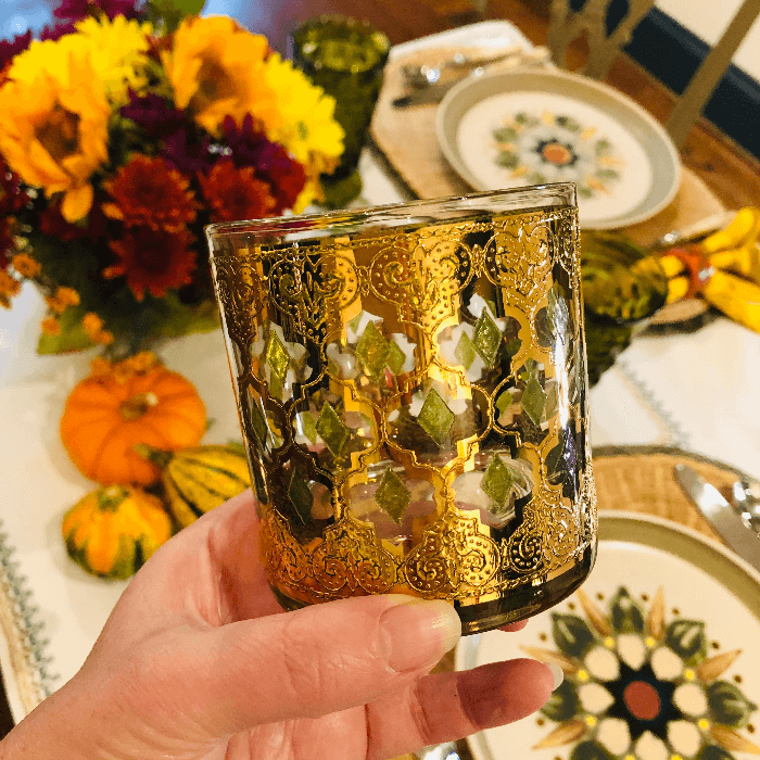 green and gold vintage glass