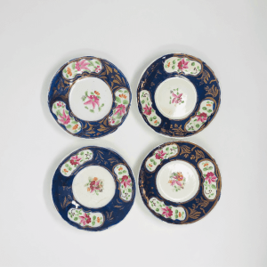 4 Blue and Pink Gaudy Welsh Plates