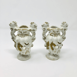 a pair of Gold & White Porcelain Couple Vases